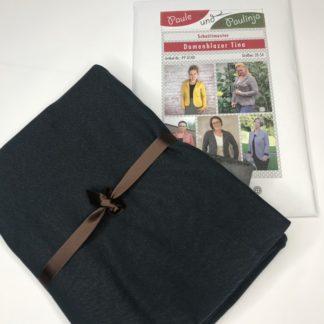 Bild Nähpaket Blazer Tina Jeggingsstoff Sommersweat French Terry blauschwarz dunkelblau fast schwarz Papierschnittmuster sportliche Jacke