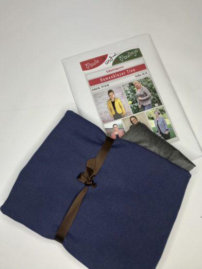 Bild Nähpaket Blazer Tina Jeggingsstoff Sommersweat French Terry Jeansblau Blau Navyblau Papierschnittmuster sportliche Jacke