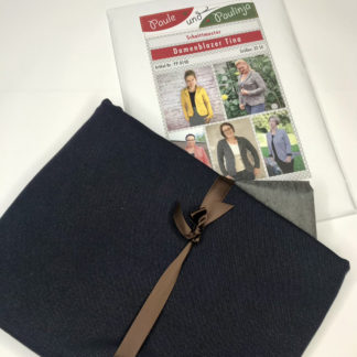 Bild Nähpaket Blazer Tina Jeggingsstoff Sommersweat French Terry Blau dunkles Jeansblau Papierschnittmuster sportliche Jacke