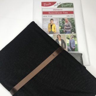 Bild Nähpaket Blazer Tina Jeggingsstoff Sommersweat French Terry schwarz Papierschnittmuster sportliche Jacke