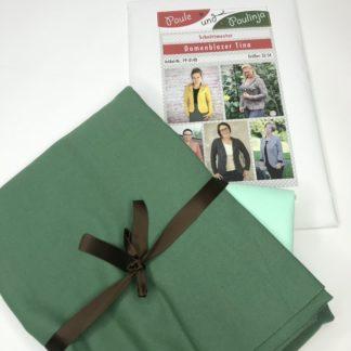 Bild Nähpaket Blazer Tina Jeggingsstoff Sommersweat French Terry Grün Grasgrün Hellgrün Papierschnittmuster sportliche Jacke