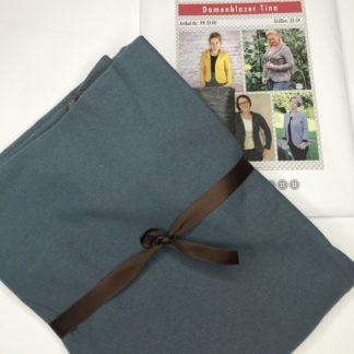 Bild Nähpaket Blazer Tina Jeggingsstoff Sommersweat French Terry Blau Navyblau Papierschnittmuster sportliche Jacke