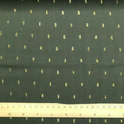 Bild Viskose Blusenstoff jägergrün, olive mit goldenen Fäden