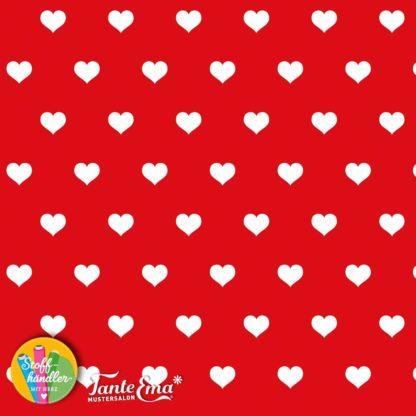Bild Baumwolljersey Tante Ema - Stoffhändler mit Herz - rot mit weißen Herzen