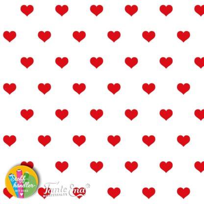 Bild Baumwolljersey Tante Ema - Stoffhändler mit Herz - weiß mit roten Herzen