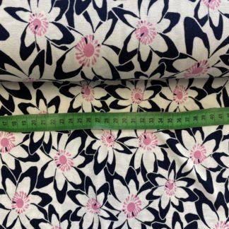 Bild Baumwolle Jersey Viskosenjersey Blumenwiese - nachtblau/weiß/rosa toll geeignet für Kleider, Oberteile , Röcke