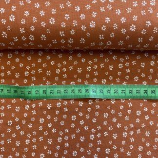 Bild Baumwolle Jersey in braun mit kleinen weißen Blümchen toll geeignet für Kleider, Oberteile , Röcke