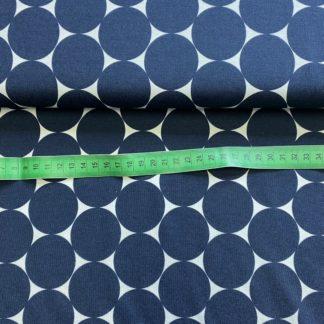 Bild Viskosenjersey Stoff KDS Queen`s Collection mit blauen großen Punkten
