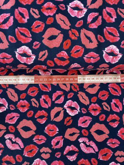 Bild Baumwolle Jersey in dunkel blau, navy mit Kussmund in pink, rosa mit glitzer toll geeignet für Kleider, Oberteile , Röcke